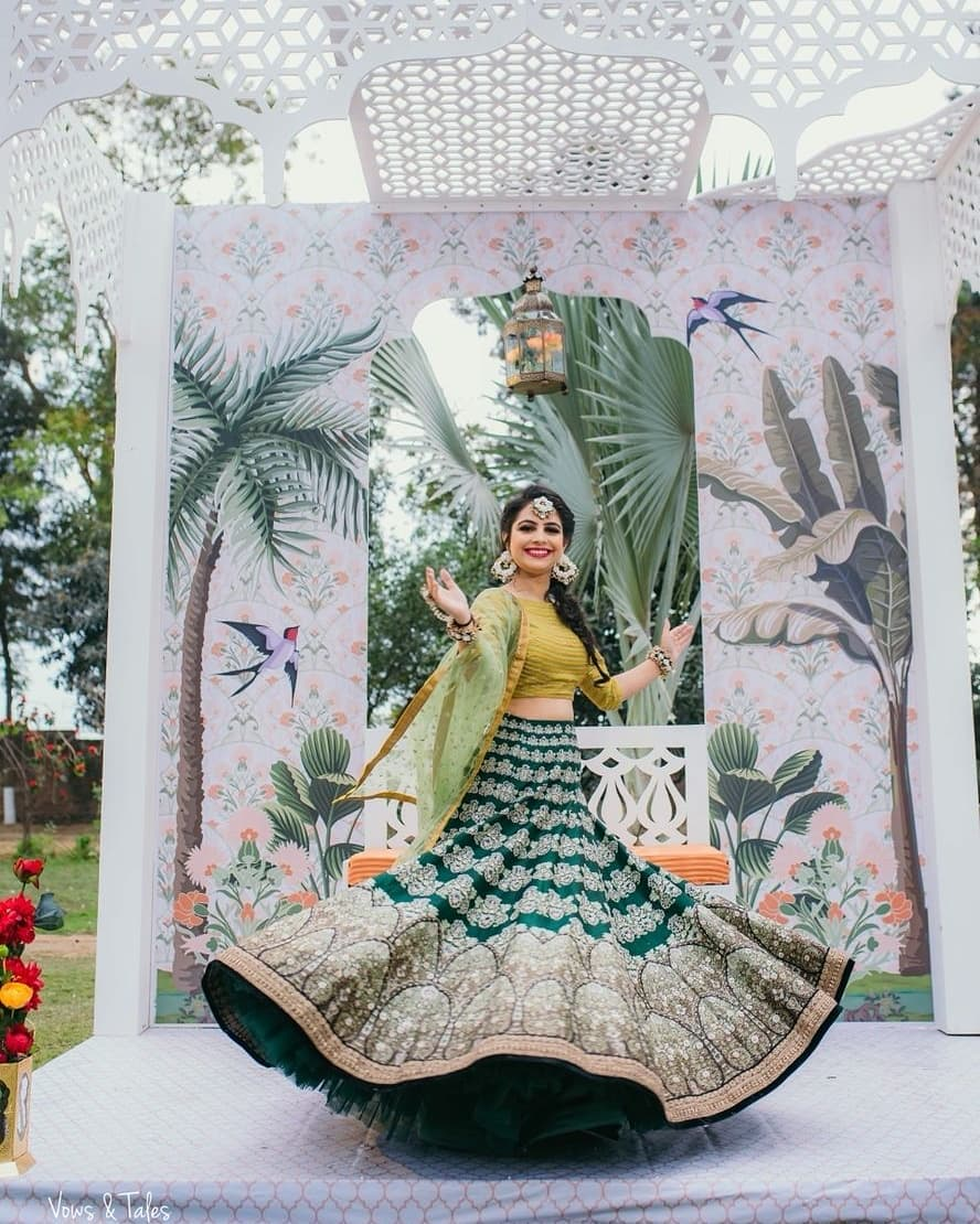 All shades of green: Light Lehenga Designs for Bride & Bridesmaid