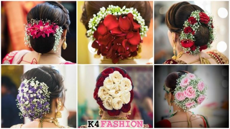 Floral Bun Hairstyles for Brides this Wedding Season