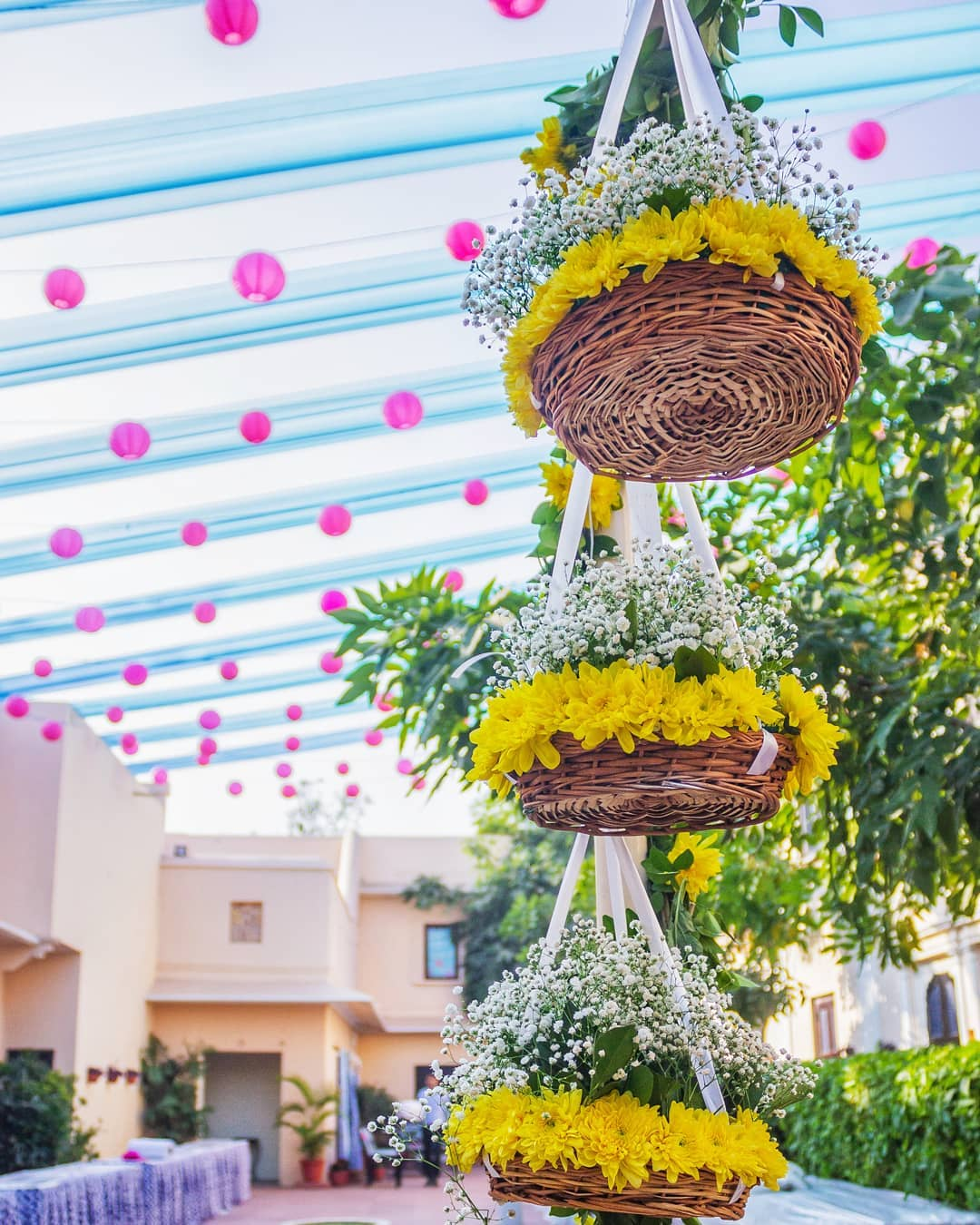 Flower basket mandap design: Simple & Stylish Decoration Ideas for Haldi Function