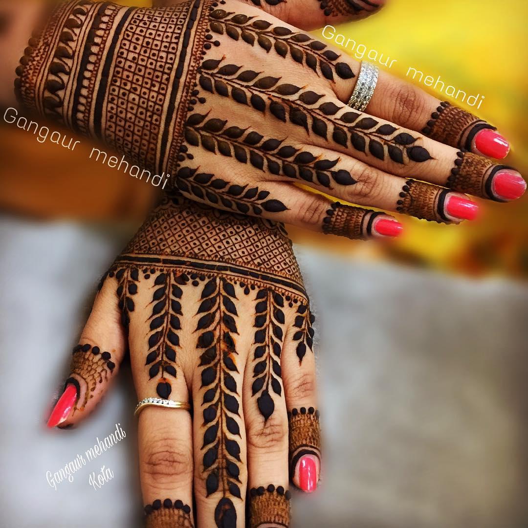 natural leaves finger mehndi design