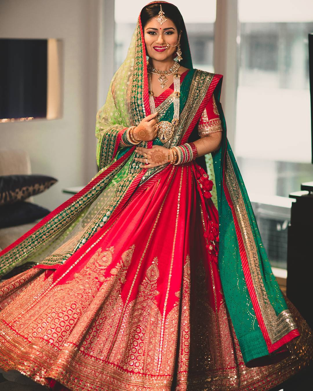 Divine in red and green Designer Bridal Lehengas for Indian Wedding