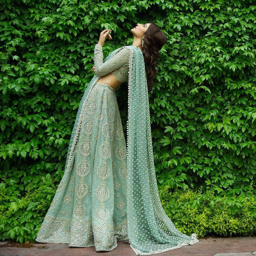 Go green: Light Lehenga Designs for Bride & Bridesmaid