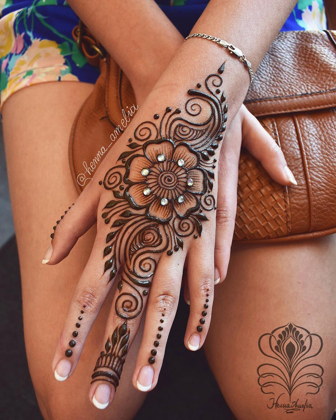 Studded flower design: Easy Mehndi Designs Collection for Hand 2020