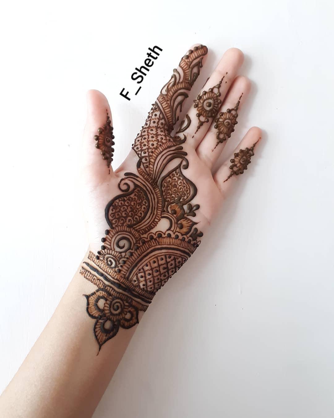 front side hand mehndi design