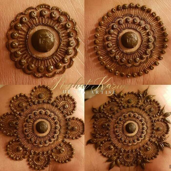 The circle design with more intricacies simple mehndi designs for hands step by step