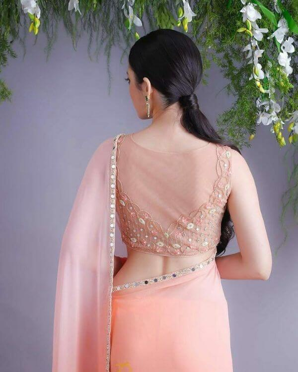 Butterfly inspired blouse back design Fancy Saree Blouse Back Neck Designs for Indian Women