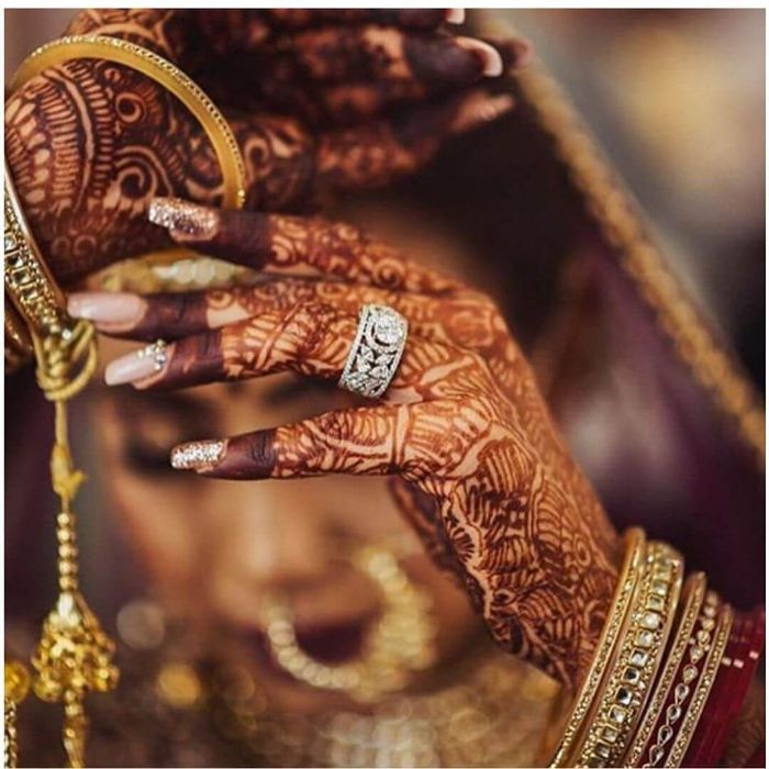 Diamond jewellery in henna laden hands Wedding Accessories for Indian Bride to Make your D-day Special