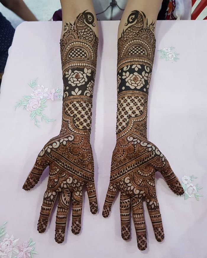 Beautifully pannelled bridal mehndi design for hands Bridal Front Hand Mehndi Designs from Shainaaz Mehendi