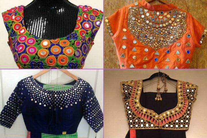 Rajasthani Mirror Work Blouse Designs Transparent Sleeves Mirror Work Blouse Design