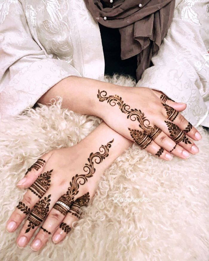 Unique mehndi designs for back hand for bride Mehndi Designs for Back Hand from Farah Saye