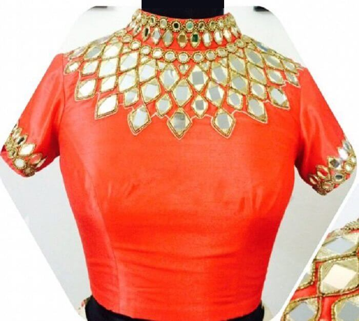 Full Neck Mirror Work Blouse Design Transparent Sleeves Mirror Work Blouse Design
