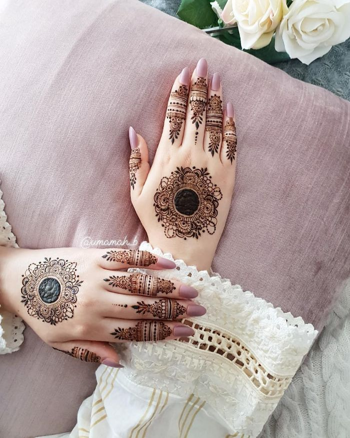 Stylish mehndi designs with finger embellishments and central motif for hands Stylish Back Hand Mehndi Designs from Umamah B