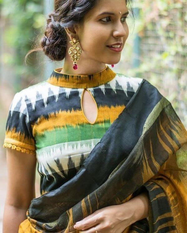 Simple high neck Blouse designs for sarees Latest Blouse Front Neck Designs for Sarees