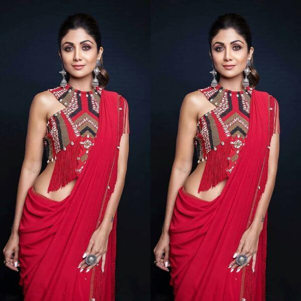 Beautiful Boho look Blouse sarees shilpa shetty Latest Blouse Front Neck Designs for Sarees