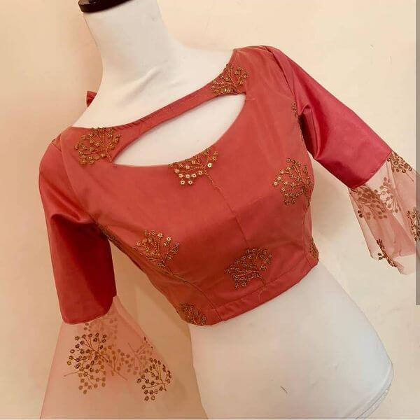Beautiful neck cut-out Blouse front neck designs for sarees Latest Blouse Front Neck Designs for Sarees
