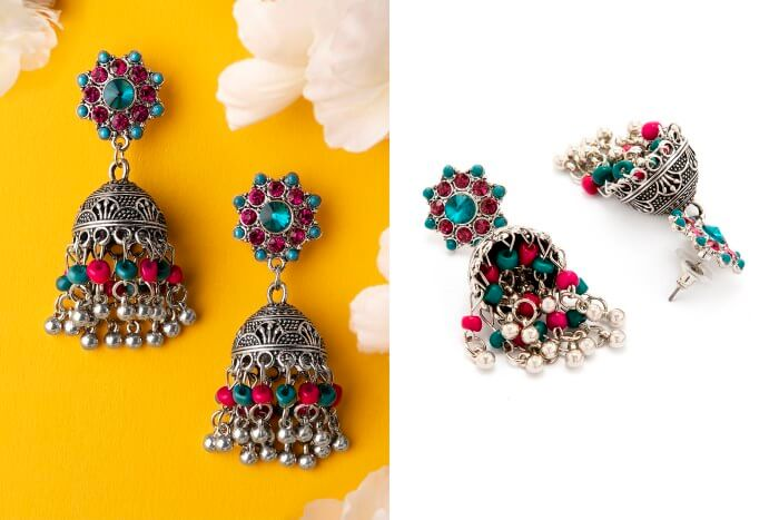 Colorful lotan style trinket silver plated earrings Bridal Floral Bun Hairstyles for Wedding Day