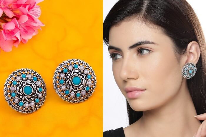 Beautiful round silver plated earrings Silver Plated Earrings to Wear in Party & Functions