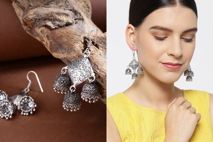 Trendy silver plated  Jhumkas Bridal Floral Bun Hairstyles for Wedding Day