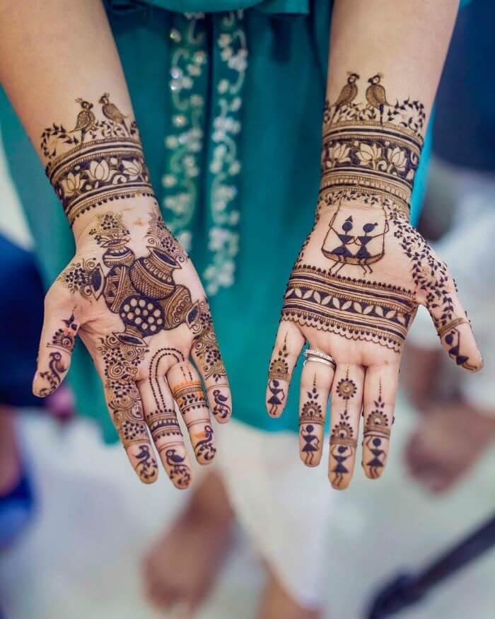 simple jhula mehndi design for Teej Festival Beautiful celebratory mehndi design
