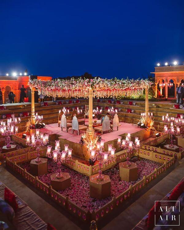 Large, flowers ceilingMandap Décor Ideas for your wedding