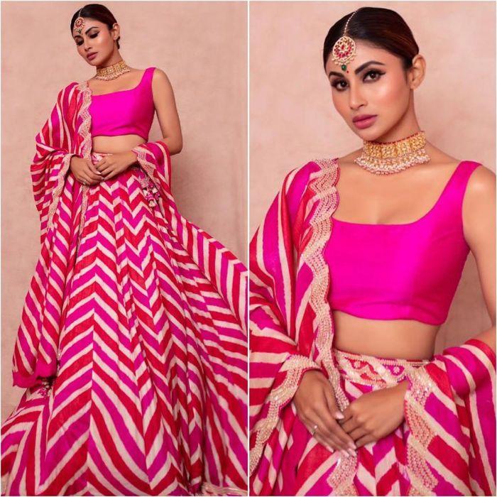 Mouni Roy inspired Hot pink lehnga