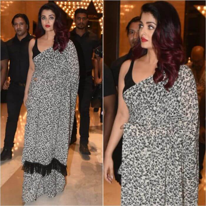 Aishwarya Rai Bachchan in Sabyasachi's classic saree Casual Wear Black Sarees with Blouse in Bollywood Style