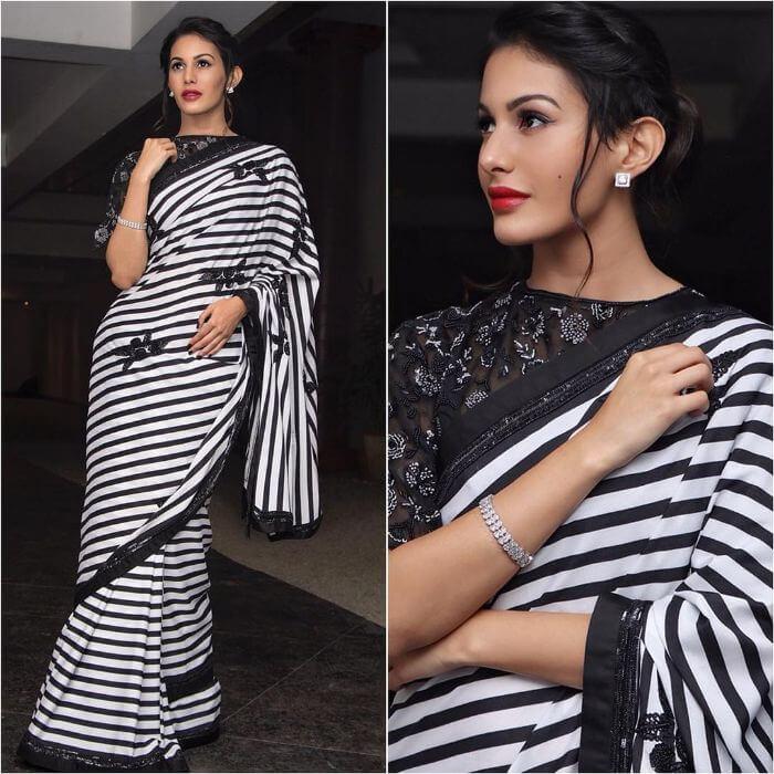 Amyra Dastur in black and white striped Saree fromSashi Vangapalli Couture