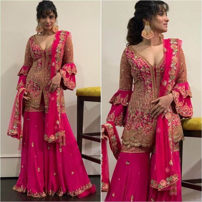 Ankita Lokhande in Hot pink designer sharara suit for you