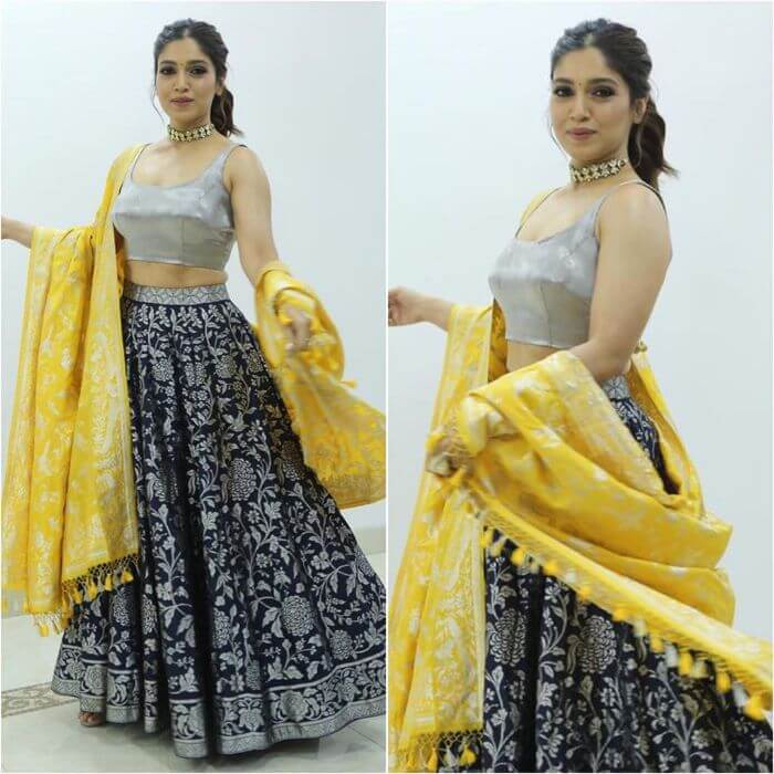 Bhumi Pednekar in Vintage waves in metallic lehenga choli