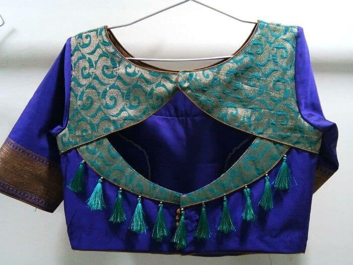 Back side blouse design in blue Fancy Back Side Blouse Designs to Pair With Saree (2020)