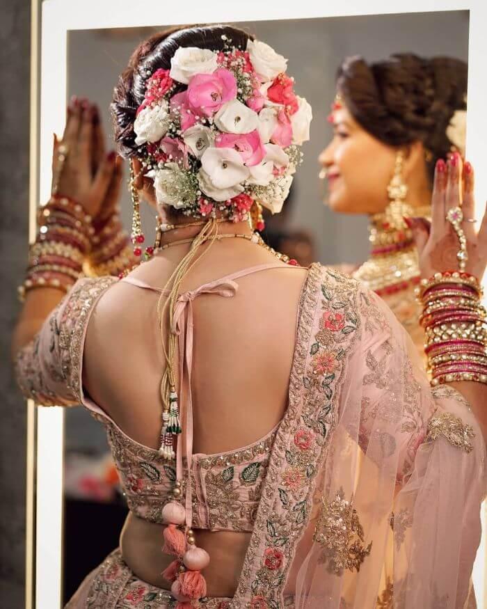 Beautiful pansy bridal bun design