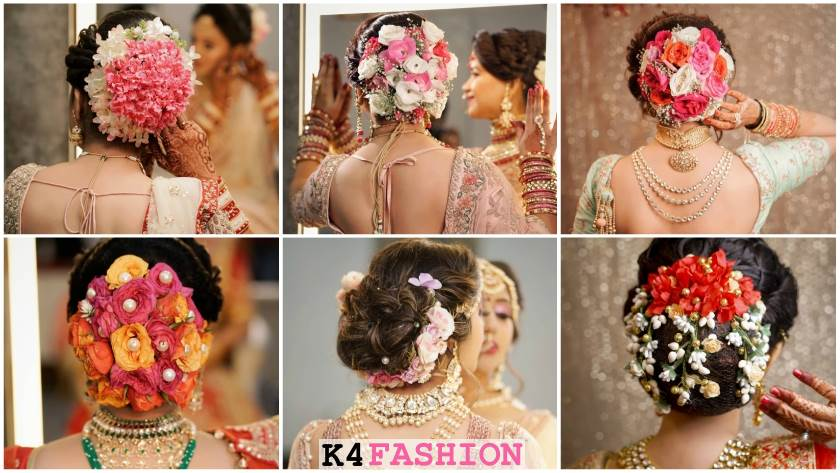 Traditional Indian Bridal Flowers Bun Hairstyles for D-Day