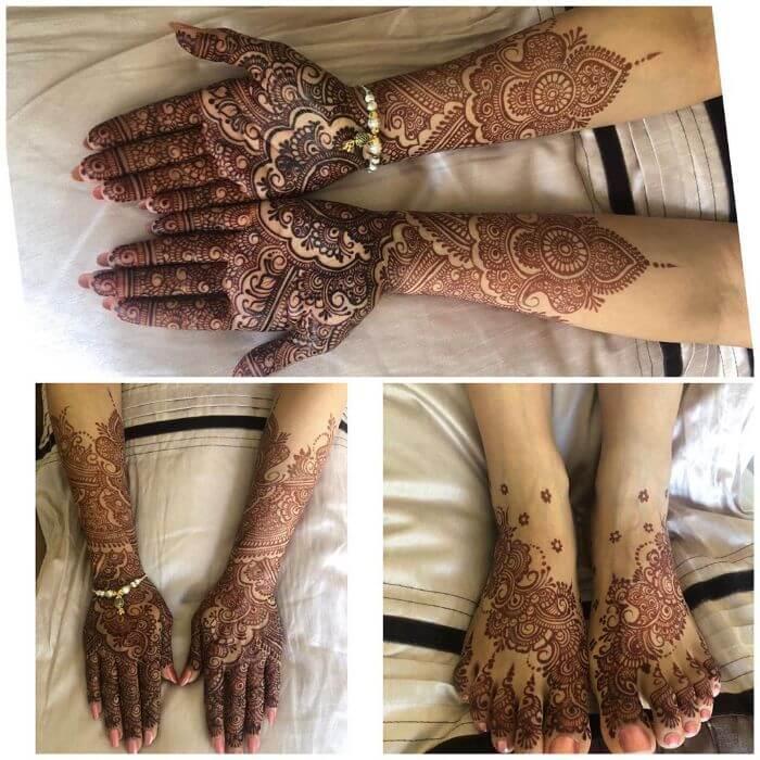 Bridal mehndi design for full hand, back hand and feet