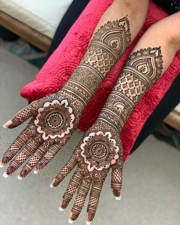 Full hand mehndi design with central motifs Bridal Full Hand Mehndi Designs for Wedding Day