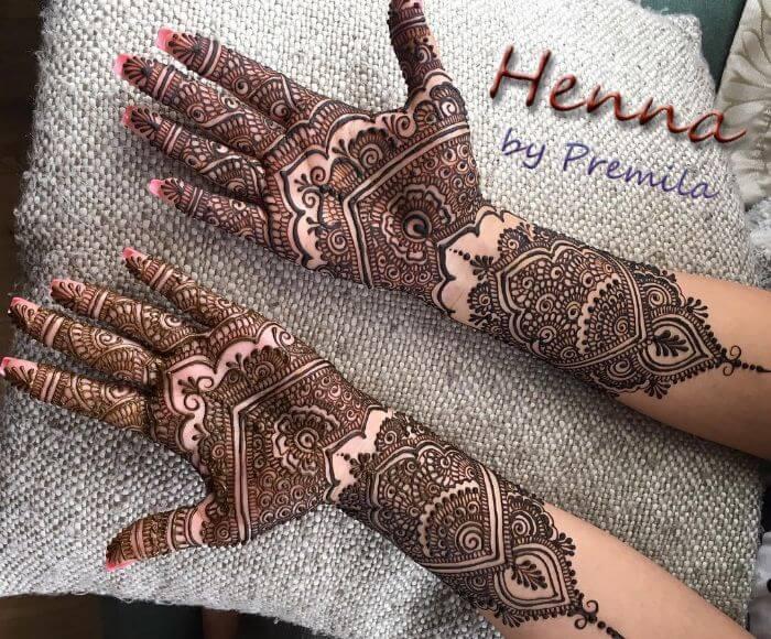 Unique bridal full hand mehndi design for d-day