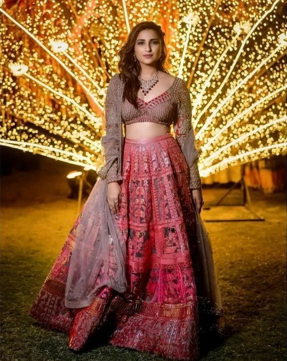 Bollywood actress Parineeti Chopra in wedding outfit Gorgeous in red