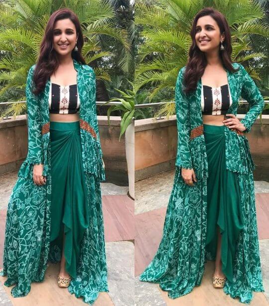 Bollywood actress Parineeti Chopra in wedding outfit Indo-Western outfit