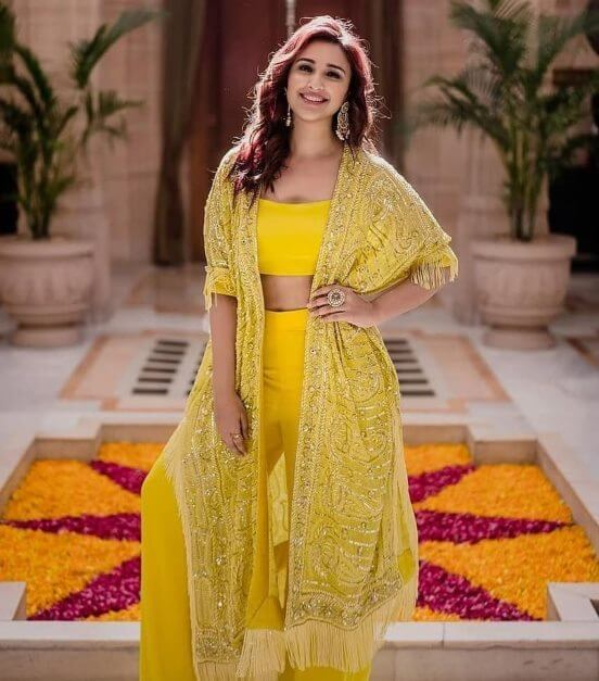 Bollywood actress Parineeti Chopra in wedding outfit co-ordinate set with matching dupatta