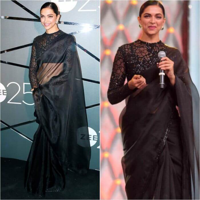 Deepika Padukone in black saree from Sabyasachi at Umang Police Awards Casual Wear Black Sarees with Blouse in Bollywood Style