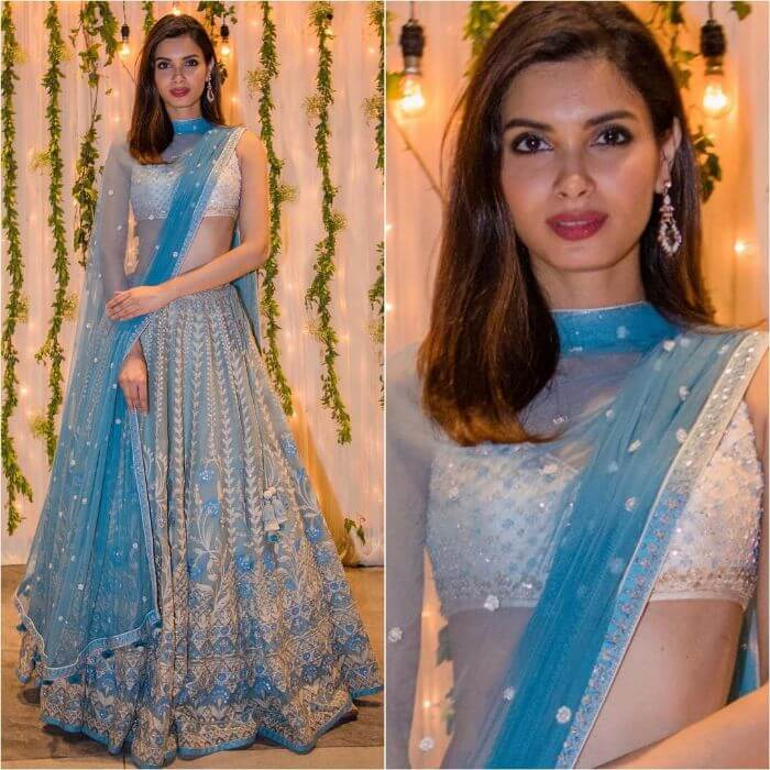 Diana Penty in pastel blue lehenga Bollywood Actresses in Lehenga Choli with Killing Look