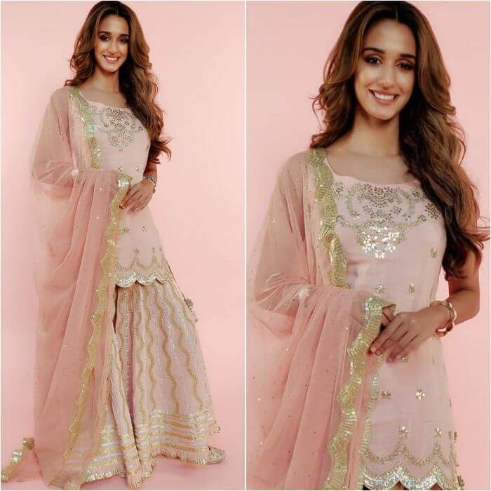 Disha Patani in dusty pink sharara by Sukriti and Akiti with gota work - K4 Fashion