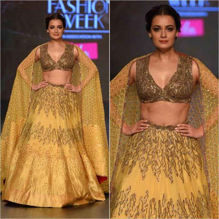 Diya Mirza in bronze gold lehenga Bollywood Actresses in Lehenga Choli with Killing Look