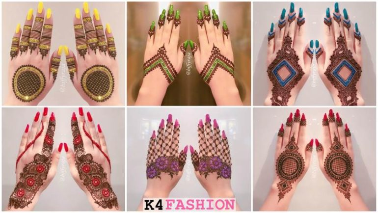 Glitter Mehndi Designs for Hands by Hiffyraja