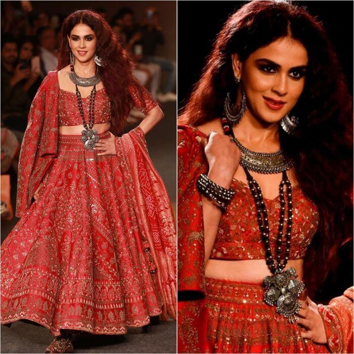 Genelia D'Souza in Smashing Red designer lehenga