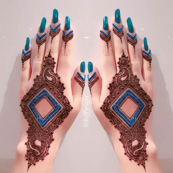Blue combination glitter mehndi Glitter Mehndi Designs for Hands by Hiffyraja