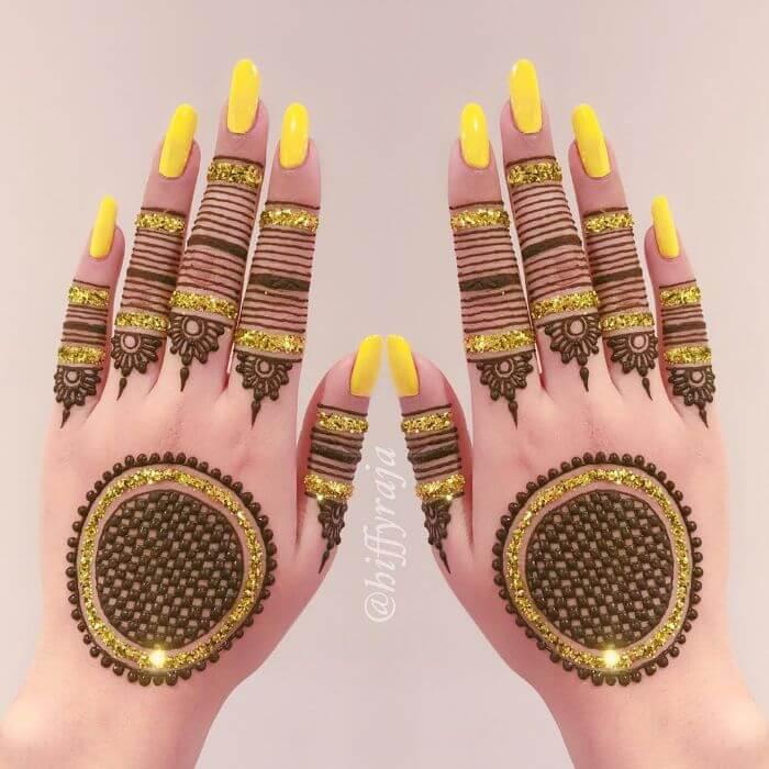 Yellow glitter mehndi design for hands  Glitter Mehndi Designs for Hands by Hiffyraja
