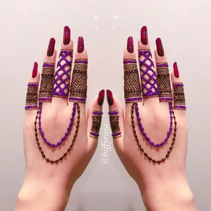 Purple glitter mehndi design for hands Glitter Mehndi Designs for Hands by Hiffyraja