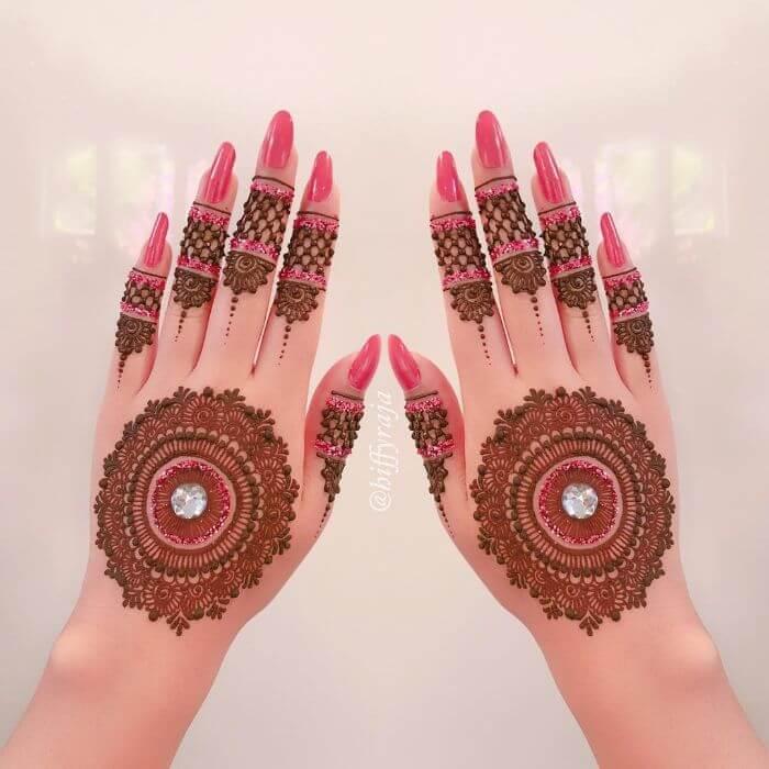 Beautiful mandala peach glitter mehndi design for hands Glitter Mehndi Designs for Hands by Hiffyraja