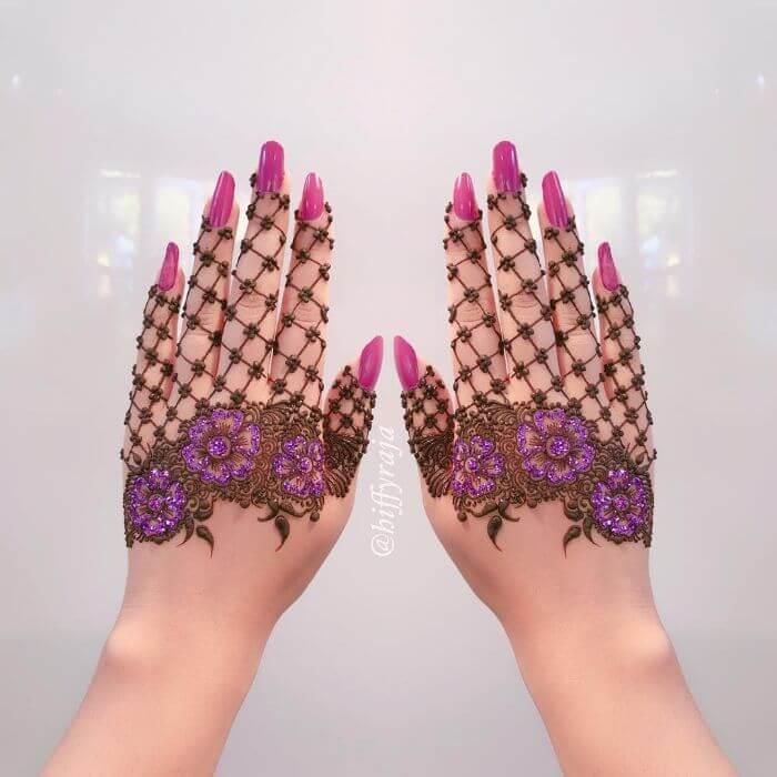 Beautiful Flower designs in purple glitter mehndi designs Glitter Mehndi Designs for Hands by Hiffyraja