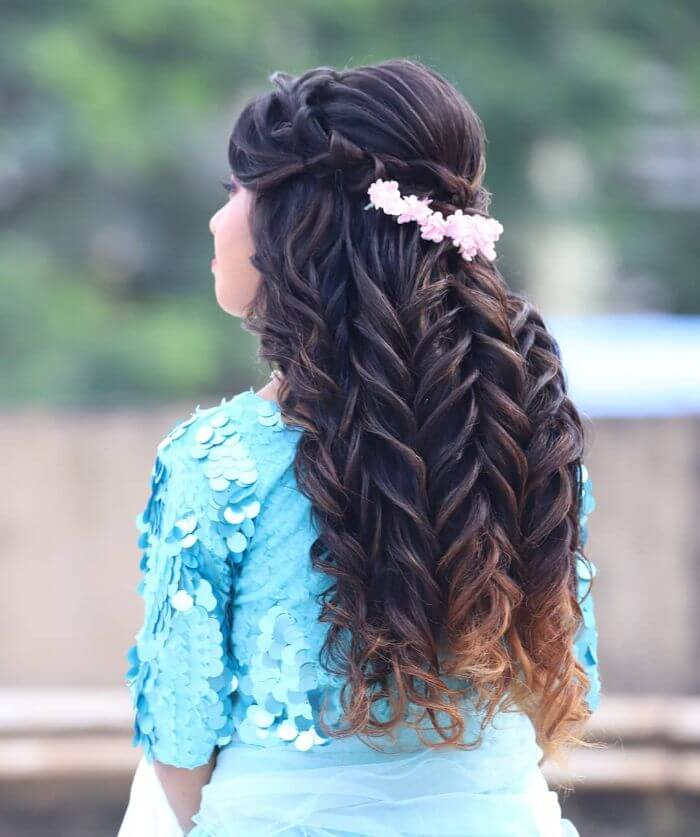 The heavy multiple braid  for long hair Indian Wedding Hairstyles for Long Hair